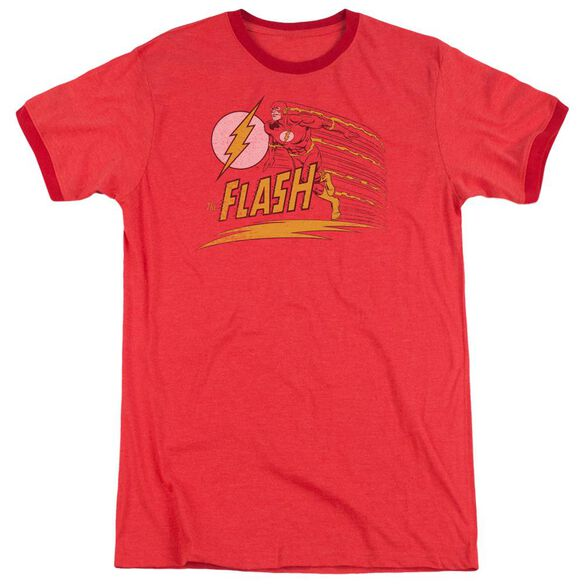 Dc Like Lightning Adult Heather Ringer Red