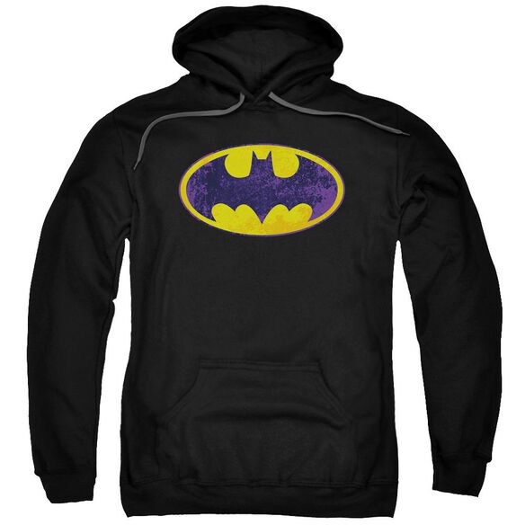 Batman Bm Neon Distress Logo Adult Pull Over Hoodie