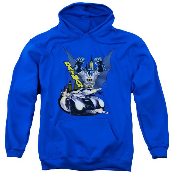 Batman By Air &Amp; By Land Adult Pull Over Hoodie Royal