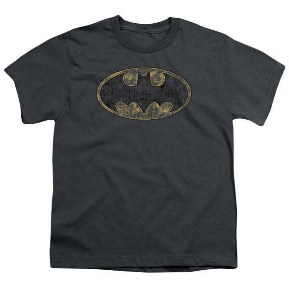 Batman Tattered Logo Short Sleeve Youth T-Shirt