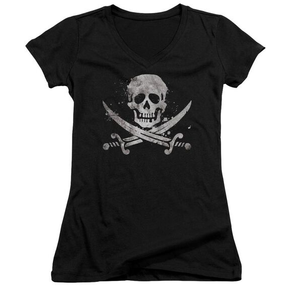 Distressed Jolly Roger Junior V Neck T-Shirt