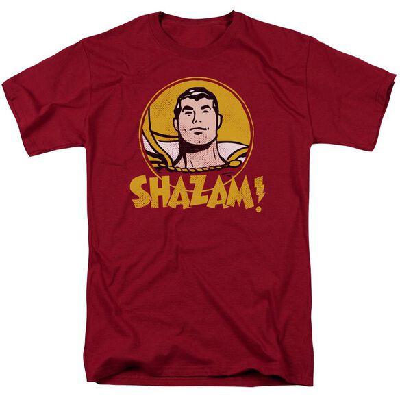 Dc Shazam Circle Short Sleeve Adult Cardinal T-Shirt