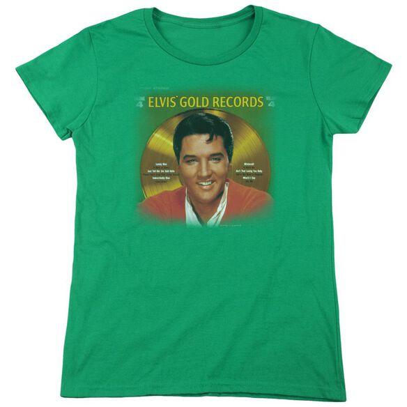 Elvis Presley Gold Records Short Sleeve Womens Tee Kelly T-Shirt