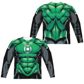 Green Lantern Uniform (Front Back Print) Long Sleeve Adult Poly Crew T-Shirt