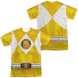 Power Rangers Yellow Ranger Emblem (Front Back Print) Short Sleeve Adult Poly Crew T-Shirt