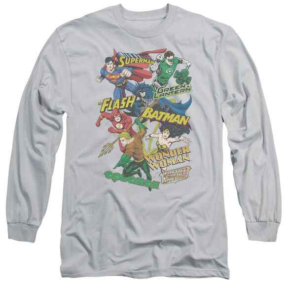 Jla Justice Collage Long Sleeve Adult T-Shirt