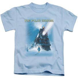 Polar Express Big Train Short Sleeve Juvenile Light Blue T-Shirt