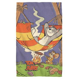 Tom And Jerry Rest And Relaxation Golf Towel White Face