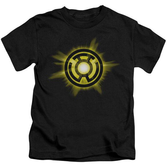 Green Lantern Yellow Glow Short Sleeve Juvenile Black T-Shirt