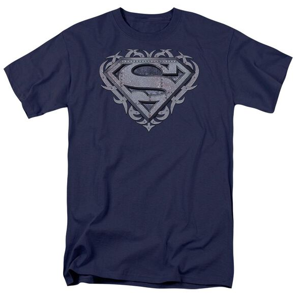 Superman Tribal Steel Shield Short Sleeve Adult Navy T-Shirt