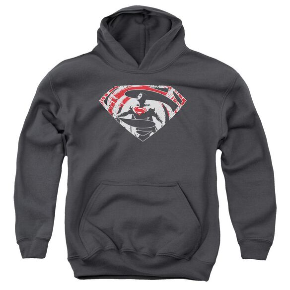 Batman V Superman Super Splatter Logo Youth Pull Over Hoodie