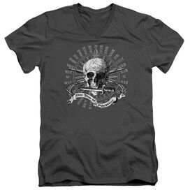 Here There Be Pirates Short Sleeve Adult V Neck T-Shirt