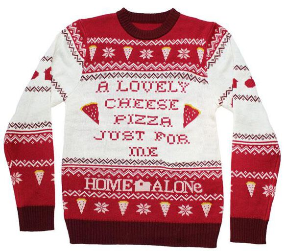Home Alone Cheese Pizza Ugly Christmas Sweater