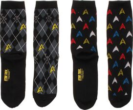 Star Trek Argyle Trexels 2 Pair Crew Socks Set