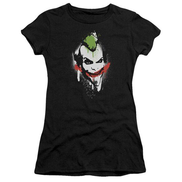 Arkham City Spraypaint Smile Short Sleeve Junior Sheer T-Shirt
