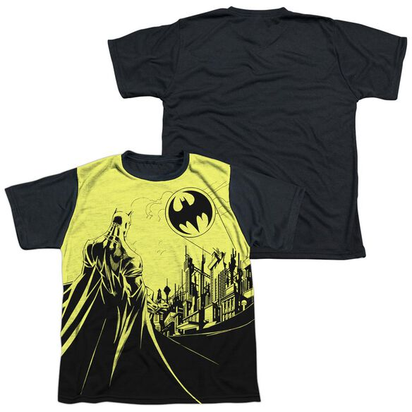 Batman Bat Signal Short Sleeve Youth Front Black Back T-Shirt
