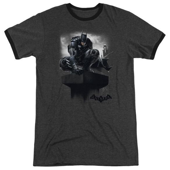Batman Arkham Knight Perched Adult Heather Ringer Charcoal
