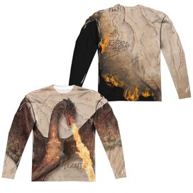 Hobbit Smaug Attack (Front Back Print) Long Sleeve Adult Poly Crew T-Shirt