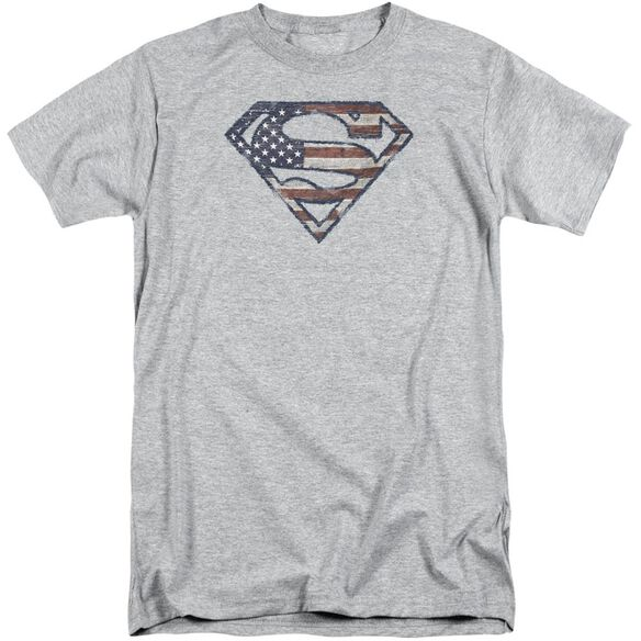 Superman Wartorn Flag Short Sleeve Adult Tall Athletic T-Shirt