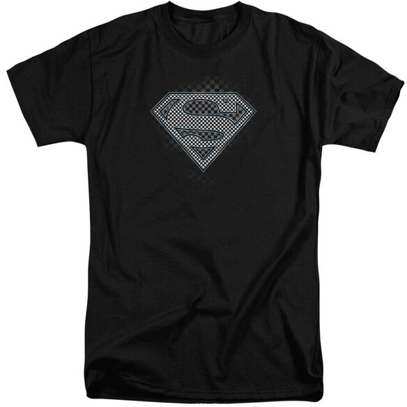 Superman Checkerboard Short Sleeve Adult Tall T-Shirt