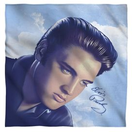 Elvis Presley Big Portrait Bandana White