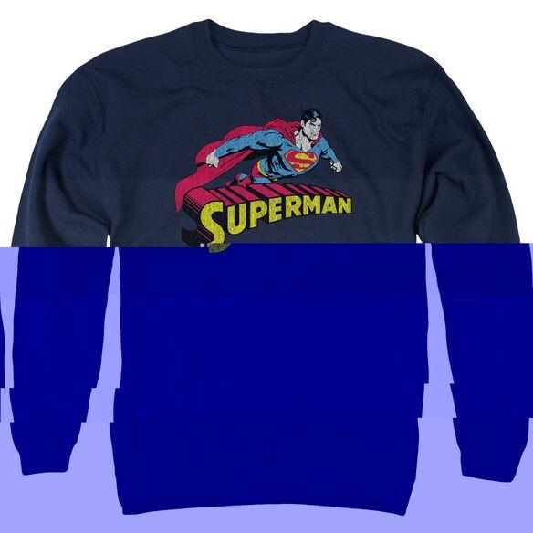 Superman Flying Over - Adult Crewneck Sweatshirt - Navy