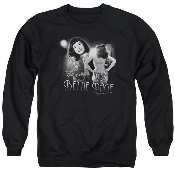 Bettie Page Center Of Attention Adult Crewneck Sweatshirt