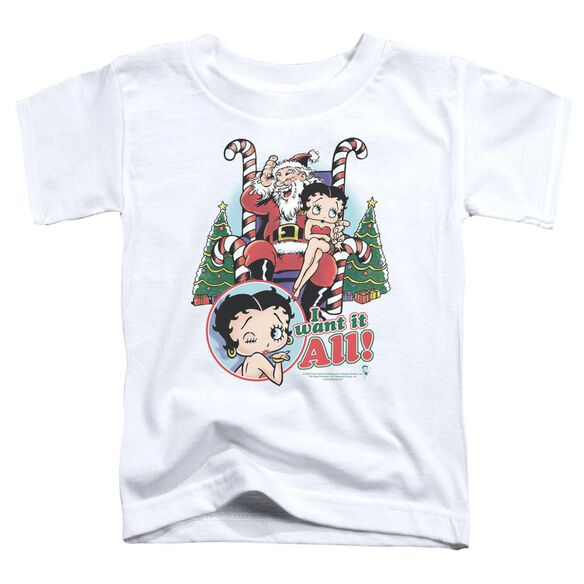 Betty Boop I Want It All Short Sleeve Toddler Tee White T-Shirt