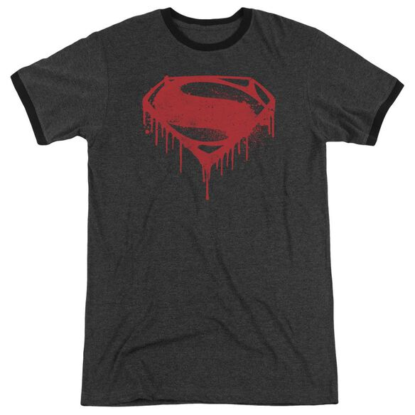Batman V Superman Splattered Adult Heather Ringer Charcoal