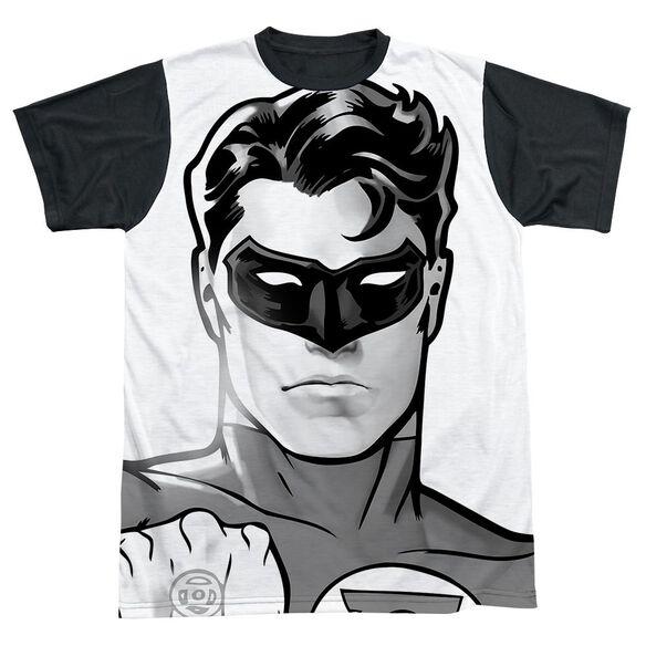 Green Lantern Bw Gl Head Short Sleeve Adult Front Black Back T-Shirt