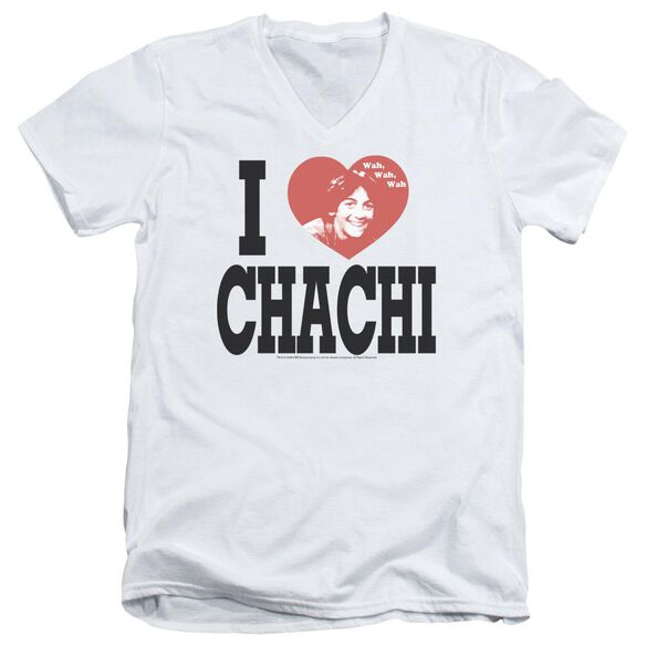 HAPPY DAYS I HEART CHACHI - S/S ADULT V-NECK - WHITE T-Shirt