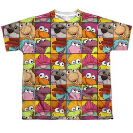 Fraggle Rock Character Squares Short Sleeve Youth Poly Crew T-Shirt
