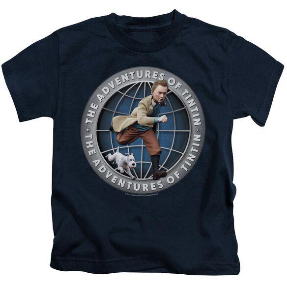 Tintin Globe Short Sleeve Juvenile Navy T-Shirt