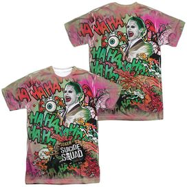 Suicide Squad Joker Psychedelic Cartoon (Front Back Print) Short Sleeve Adult Poly Crew T-Shirt