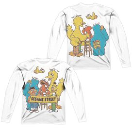 Sesame Street Block Party (Front Back Print) Long Sleeve Adult Poly Crew T-Shirt