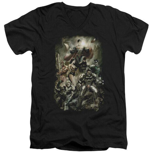 Jla Aftermath Short Sleeve Adult V Neck T-Shirt