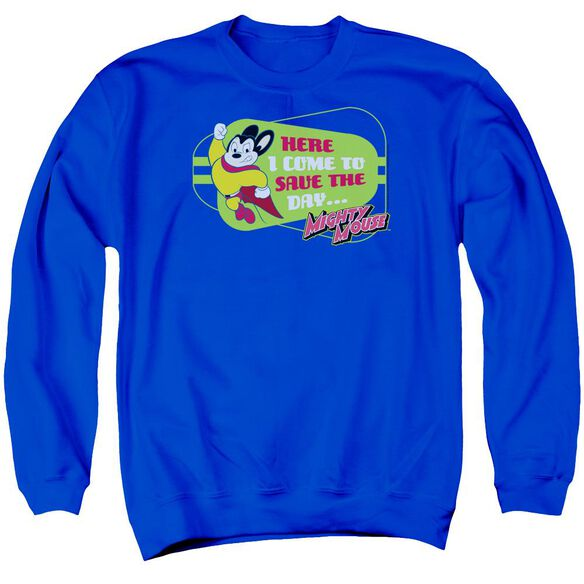 Mighty Mouse Here I Come Adult Crewneck Sweatshirt Royal