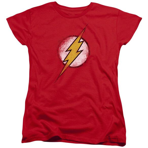 Jla Destroyed Flash Logo Short Sleeve Womens Tee T-Shirt