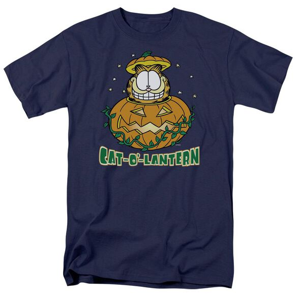 GARFIELD CAT O LANTERN - S/S ADULT 18/1 - NAVY T-Shirt