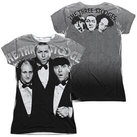 Three Stooges Classy Fellas (Front Back Print) Short Sleeve Junior Poly Crew T-Shirt