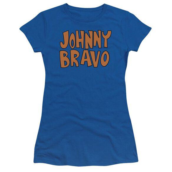 Johnny Bravo Jb Logo Short Sleeve Junior Sheer Royal T-Shirt