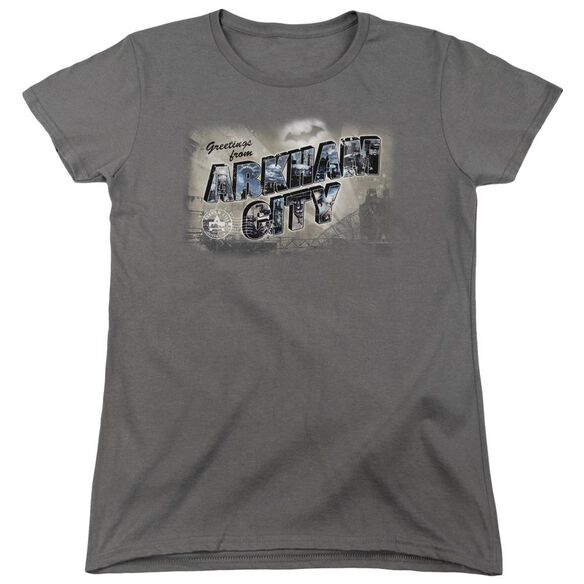 Arkham City Greetings From Arkham Short Sleeve Women's Tee T-Shirt