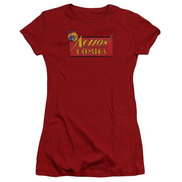 Superman Action Comics Logo Premium Bella Junior Sheer Jersey