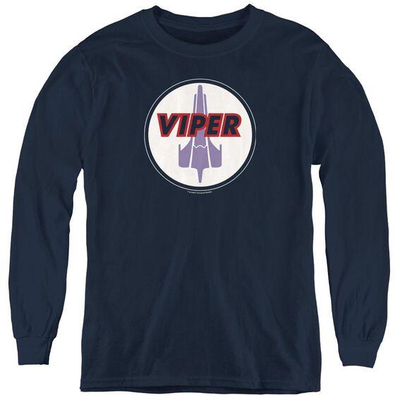 Bsg Viper Badge - Youth Long Sleeve Tee - Navy