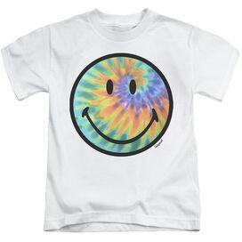 Smiley World Tie Dye Face Short Sleeve Juvenile White T-Shirt