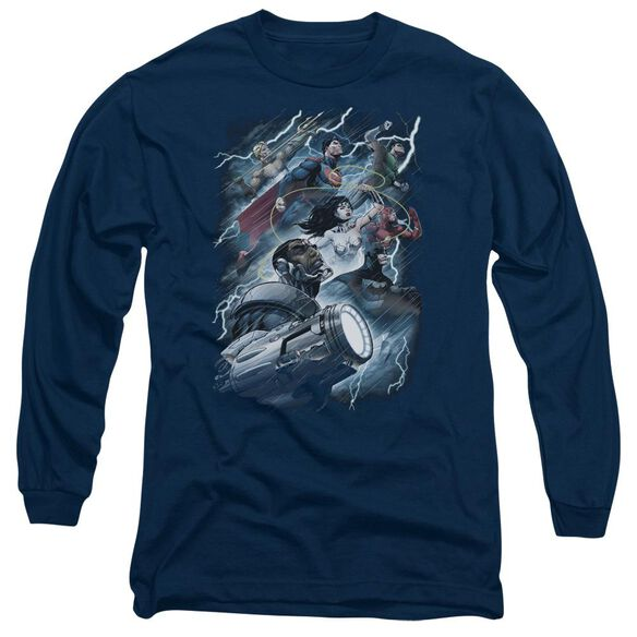 Jla Ride The Lightening Long Sleeve Adult T-Shirt