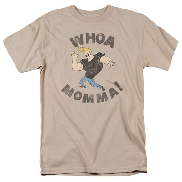 Johnny Bravo Whoa Momma Short Sleeve Adult Sand T-Shirt