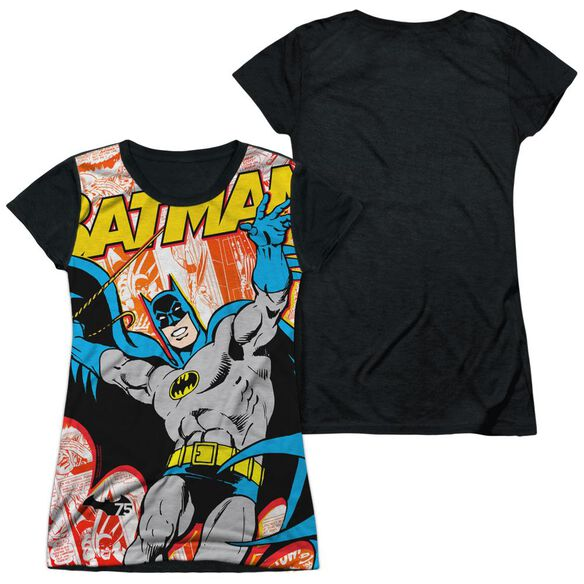 Batman 75 Panels Short Sleeve Junior Poly Black Back T-Shirt