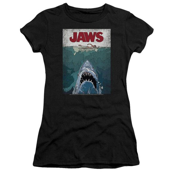 Jaws Lined Poster Short Sleeve Junior Sheer T-Shirt