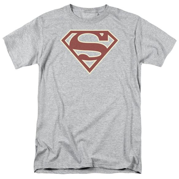 Superman Crimson & Cream Shield Short Sleeve Adult Athletic Heather T-Shirt